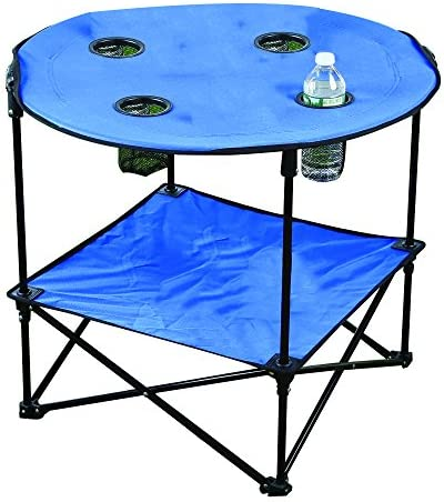 Folding Fabric Picnic Table Side Camping and Beach Beverage Stand