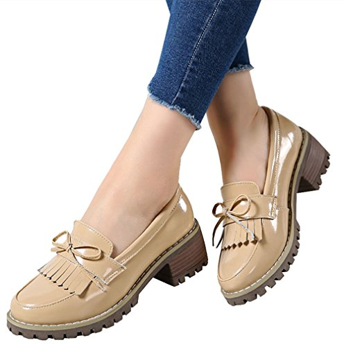 DADAWEN Women's Classic Tassel Slip-On Platform Mid-Heel Square Toe Oxfords Dress Shoes Apricot US Size 8