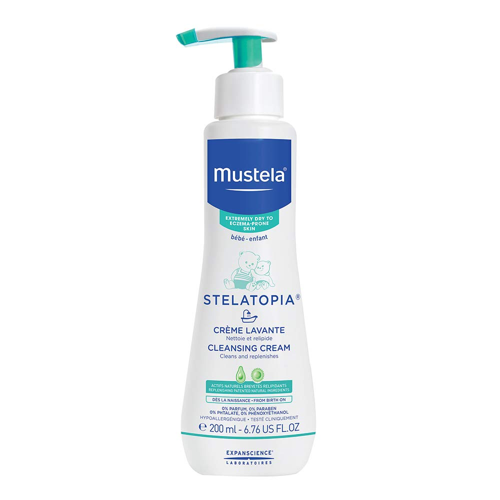 Mustela Stelatopia Cleansing Cream, Baby Body Wash for Extremely Dry to Eczema