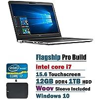 Dell Inspiron 5000 15 15.6 inch Full HD Premium Flagship Touchscreen Laptop PC, Intel Core i7-6500U Dual-Core, 12GB DDR4, 1TB HDD, Intel RealSense 3D camera, MaxxAudio, DVDRW, Windows 10 (Silver)
