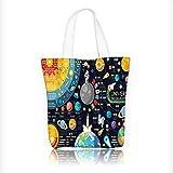 Stylish Canvas Zippered Tote Bag New Horizs of Solar System InfoPluto Venus Mars Jupiter Skyrock Shopping Travel Tote Bag W16.5xH14xD7 INCH