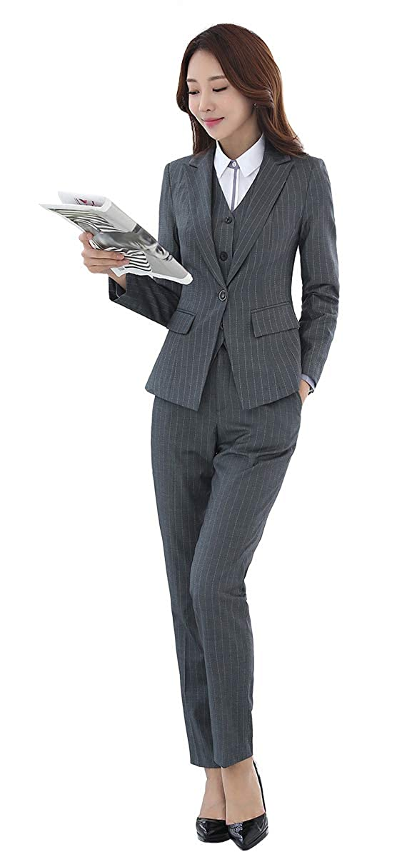 Grey LISUEYNE Women's 2 Pieces Office Lady Blazer Business Set Women Suits for Work Skirt Pant and Jacket