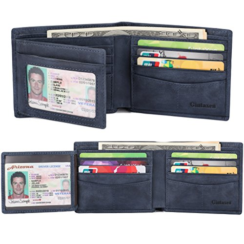 Wallet for Men Genuine Leather Trifold Wallet with 2 ID Window and RFID Blocking - Deep Blue