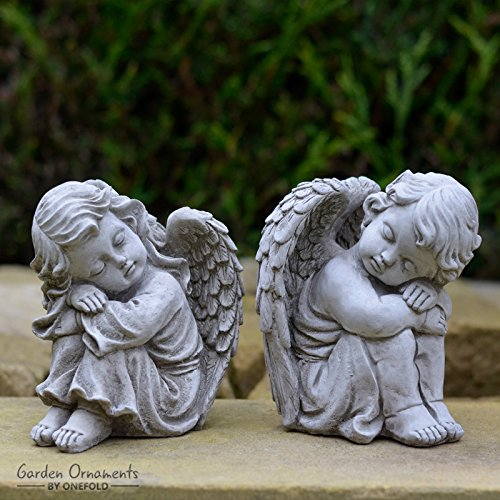 Garden Ornaments By Onefold AS11 Resting Angels Pair Small Stone Statue,  Grey, 12x11x15 Cm