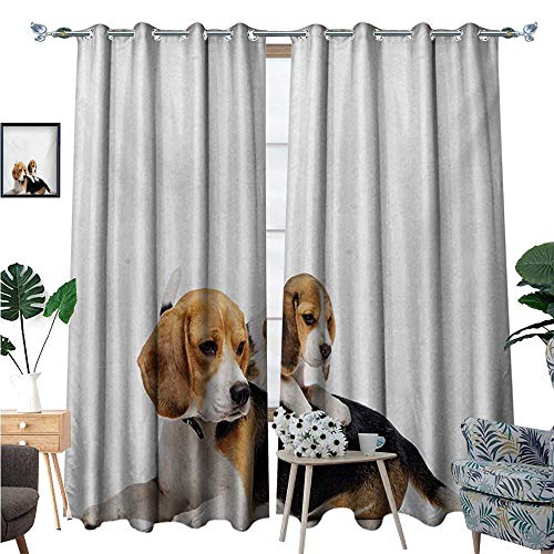 Beagle Blackout Window Curtain Cute Family with Mother and Baby Puppy Domestic Fur Animal Photography Customized Curtains W72 x L96 Pale Caramel White Black