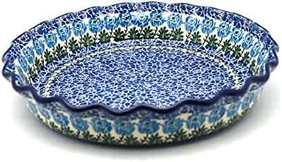 Polish Pottery Baker - Pie Dish - Fluted - Antique Rose