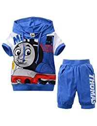 Independence Life Toddler Boys' 2-Piece Thomas Train and Friends Hooded T-Shirt and Pant Short Set