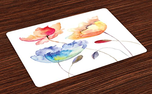 Ambesonne Watercolor Flower Place Mats Set of 4, Summer Flowers in Retro Style Painting Effect Nature is Blessing Art, Washable Placemats for Dining Room Kitchen Table Decoration, Orange Blue ()