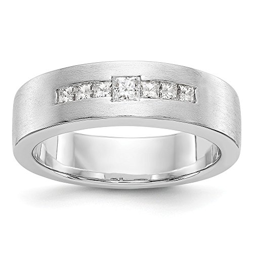 JewelrySuperMart Collection 1/2 CT 14k White Gold AA Diamond Men's Band. 0.509 ctw. Size 13.5