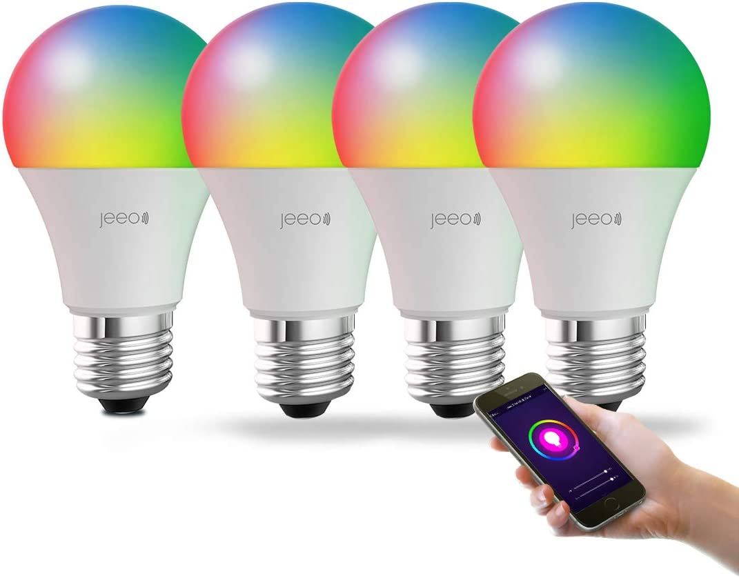 Jeeo Smart WiFi Color Lights - LED Color Changing Dimmable Bulbs - Compatible with Alexa, Google Home Assistant (No Hub Required), A19, 800Lumens, 60W,FCC RoHs ETL Certified(4 Pack)