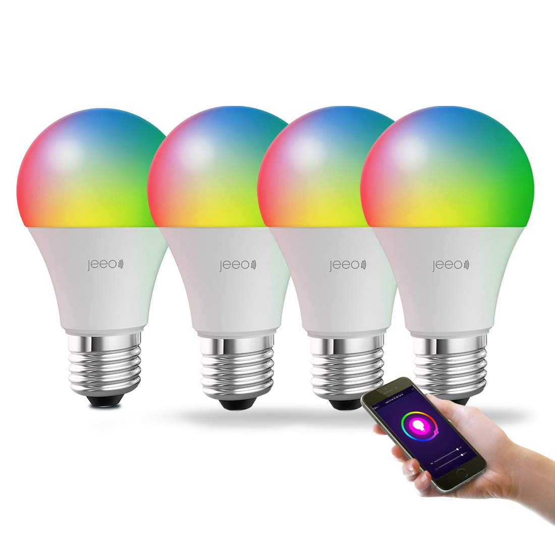 Jeeo Smart WiFi Light Bulb LED RGB Color Changing Dimmable Bulb Compatible with Alexa, Google Home Assistant, IFTTT (No Hub Required), A19 800 Lumens/60W Equivalent, Jeeo App Remote Control (4 Pack)