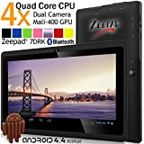 7inch Zeepad Android 4.4 KitKat Quad Core 1280800pix IPS Screen Dual Camera Bluetooth WIFI Tablet PC (Black)