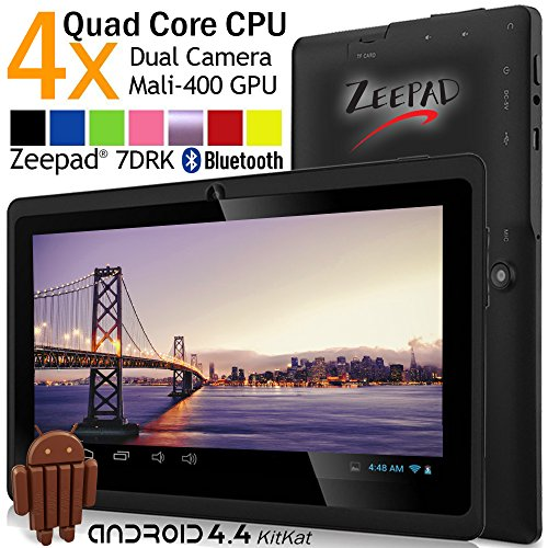7inch Zeepad Android 4.4 KitKat Quad Core 1280800pix IPS Screen Dual Camera Bluetooth WIFI Tablet PC (Black) by Zeepad