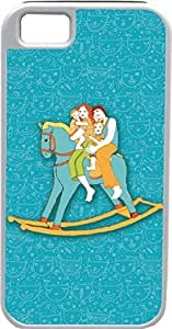 iPhone 4 4S Cases Customized Gifts Cover Adorable family couple and two kids rocking on a light blue rocking horse Design
