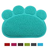 Jomia Pet Dog Cat Puppy Kitten Dish Bowl Food Water Feeding Placemat, PVC Non-Slip Cat Litter Mat Paw Shape (Lake Blue)