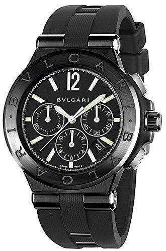 Bvlgari-Diagono-Black-Dial-Chronograph-Black-Rubber-Mens-Watch-DG42BBSCVDCH