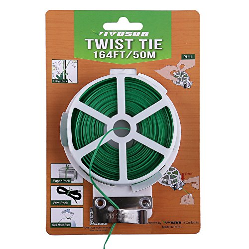 - VIVOSUN 164 Feet Twist Tie Roll Spool Dispenser w/Cutter Secure Garden Plant Multi-Function Cable Snack Tie