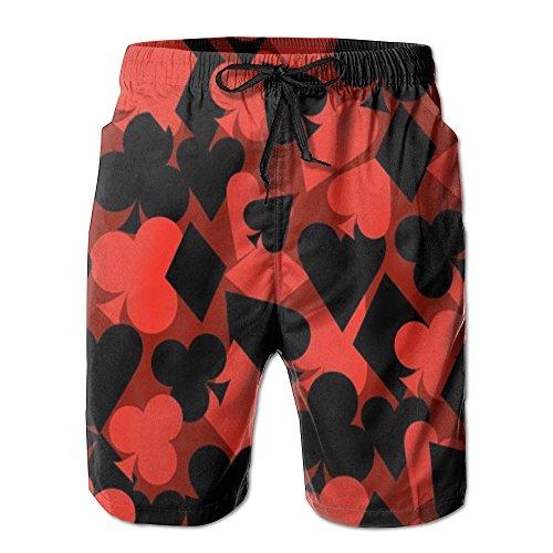 HXXUAN Men's Beach Shorts Swim Trunks Red Poker Shape Board Shorts with Pockets