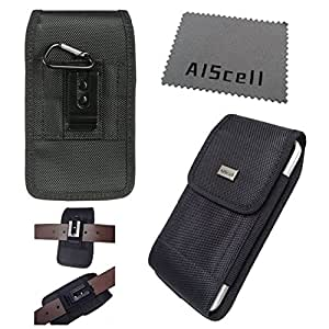 Samsung Galaxy Mega 6.3, GT-I9200 I9205 (AT&T, Sprint) / Mega 2 II Black Ultra Rugged Nylon Case Metal Belt Clip , 2 Way Belt Loop Holster Flap Pouch (horizontal / vertical)+Cleaning Cloth