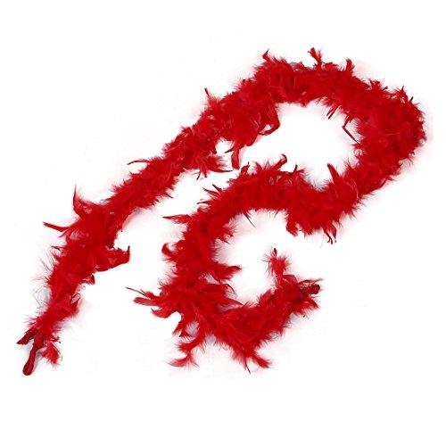 Boa de Plume Pelucheux Décoration Artisanale 6,6 Pieds de Long - Rouge