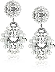 CZ by Kenneth Jay Lane Rhodium-Plated Drop Cubic Zirconia Rococo Pearl and Rose Earrings, 12 CTTW