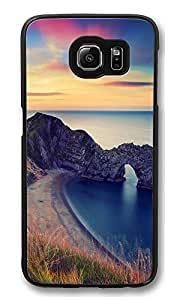 VUTTOO Rugged Samsung Galaxy S6 Edge Case, Durdle Door Beach Sunset Polycarbonate Plastic Case Back Cover for Samsung Galaxy S6 Edge PC Black