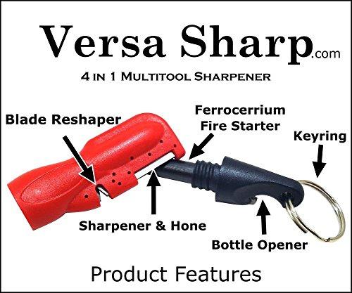 (VersaSharp 4-in-1 Sharpener & Fire Starter - Sharpens & Hones Serrations, Straight blades, Scissors and more - EDC Keychain Tool - Ferrocerium Firestarter w/Built in Striker - Keychain Bottle Opener)