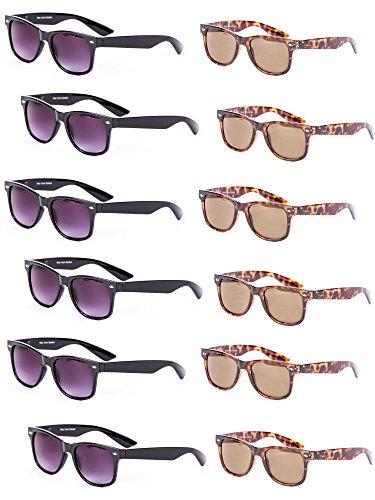 Wholesale (12 Pair) Full Lens Outdoor Reading Sunglasses - NOT Bifocals (Black/Tortoise, - Sunglasses Bifocal Wholesale
