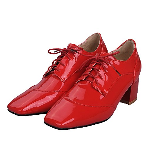 de con mujer PU tacón Zapatos y Bombas zapatos para de VogueZone009 tacón y Rojo cordones 0Xv4w