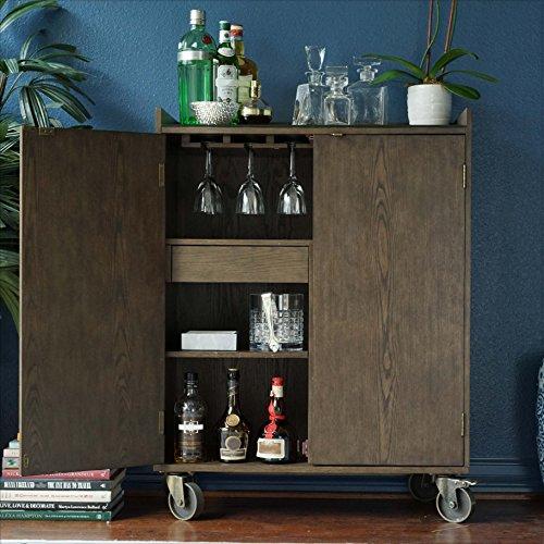 Walnut Burnished Cabinet (Alveare Home 8008-618 Boulder Rolling Bar Cart Drink Cabinet, Walnut)