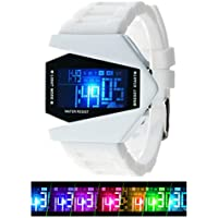 Kids Men's Digital Sport Watch Warcraft Fighter Multi Function for Age Above 12 LED 50M Outdoor Waterproof Electronic Analog Quartz Silicone Wrist Watches for Kids Toddler Boys Men (White)