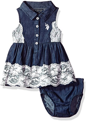 U.S. Polo Assn. Baby Girls Casual Dress, lace Overlay Dark wash, 3-6 Months -