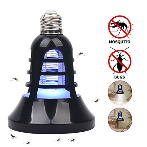 Cypers Bug Zapper Light Bulb- [2018 UPGRADED] Electronic Insect Killer,110V E26 Light Bulb Socket Base Mosquito Zapper Lamp, Built in Insect Trap for indoor or outdoor (Black)