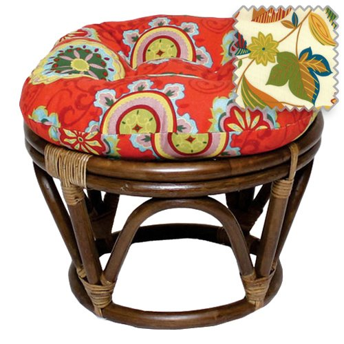 18-Inch Bali Rattan Papasan Footstool with Cushion - Print Outdoor Fabric, Skyworks Multi - DCG Stores Exclusive