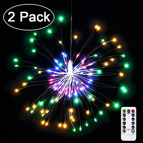 2 Pack LED Decorative Lights, 8 Modes 120 LED Dimmable Fairy Lights, Twinkle Starburst Lights, Waterproof Battery Operated with Remote Control for Home, Patio, Parties, Wedding, Christmas (Multicolor) -