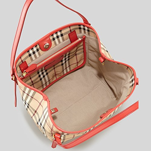 Burberry Haymarket Patent Colors Small Canterbury Tote - Coral Red