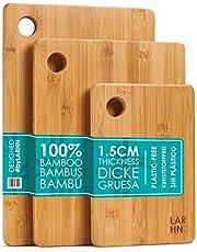 LARHN Houten Snijplanken – 3-Delige Extra Dikke Snijplankenset - 33x22cm / 28x22cm / 22x15cm - Grebuik als Keukenplanken, Ontbijtplanken, Broodplanken en Serveerplanken