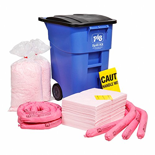 HazMat Spill Kit in Large Mobile Container by New Pig, Absorbs Hazardous Chemicals - Acids, Bases & Unknowns, 34-Gal Absorbency, Wheeled Mobile Kit, KIT359