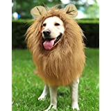 Dog Lion Mane, Halloween Funny Cute Dogs Wigs Hair Costume with Ears Button Adjustable for Large Medium Dog, Festival Party Fancy Dress Holiday Photo Shoots Autumn Winter Hat Cap (New)