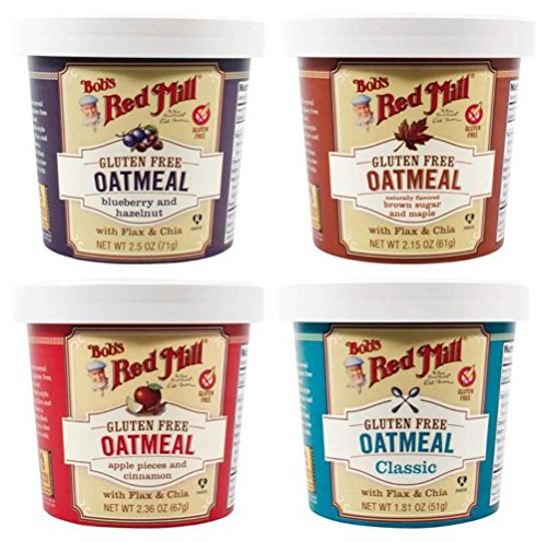 - Bob's Red Mill Gluten Free Oatmeal Grab 'N Go 4 Flavor Sampler Bundle: (1) Blueberry Hazelnut, (1) Brown Sugar Maple, (1) Apple Cinnamon, and (1) Classic, 1.81-2.5 Oz. Ea. (4 Cups Total)