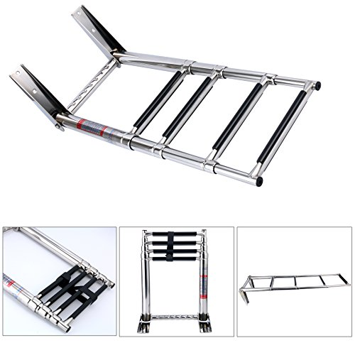 Telescoping Boat Ladders - Amarine Made 4 Step Telescoping Swim Marine Boat Ladder Stainless with Built in Handle