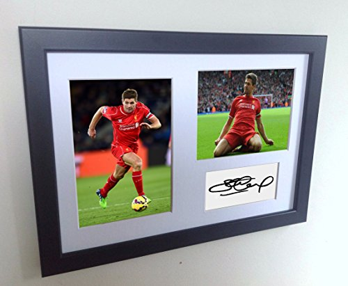 Signed Black Soccer Steven Gerrard Liverpool FC Autographed Photo Photographed Picture Frame A4 12x8 Football Gift by kicks