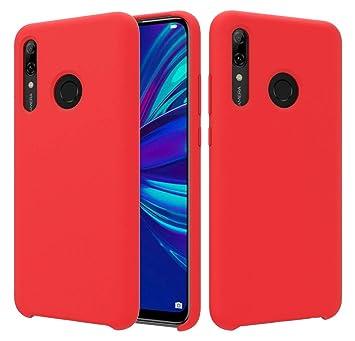 CoverTpu Funda Huawei P Smart Plus 2019 Silicona, Rojo Funda Líquido de Silicona Gel TPU Flexible, Carcasa para Huawei P Smart+ 2019 Anti-Rasguño y ...