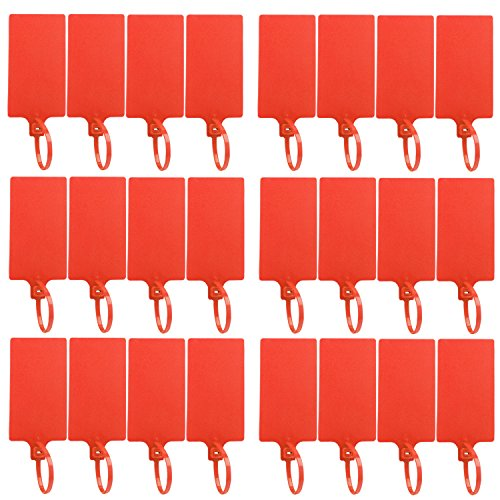 DROK 24 Pack Red Plastic Parcel Tags, High-Class Writable Nylon Luggage Inventory Tag Label, 57 × 100mm Identification Tag with Tagging -