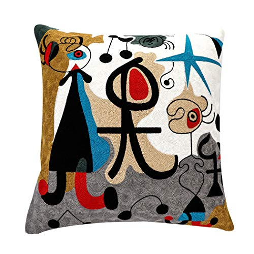 Leowoo Abstract Pillowcase Pillow Covers 18x18 Modern Picasso Embroidery African Cushion Covers 18