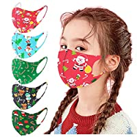 Liraly 5pcs Kids Halloween Christmas Face Madks Halloween costume Face Bandanas with Breathing Dustproof for Family Reusable Breathable Seamless