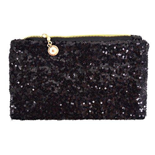 Meliya Women's Glitter Sequins Clutch Vintage Evening Party Handbag Cosmetic Bag Wedding Bag Purse (Black) Black