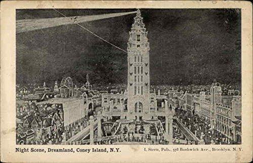 Island Dreamland Coney (Night Scene, Dreamland Coney Island, New York Original Vintage Postcard)