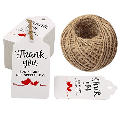 Original Design Thank You for Sharing Our Special Day - Bridal Wedding Gift Tags 100PCS Baby Shower Tags with 100 Feet Twine for DIY & Gift Wrapping (White)]()