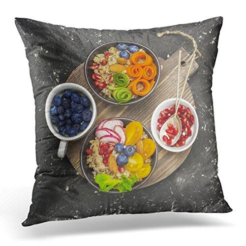 (Sdamas Throw Pillow Cover Vegetarian Quinoa Bowl Healthy Breakfast Snack with Detox Tomato Cucumber Carrot Pomegranate Seeds Juicy Pillow Case Home Decor Square Pillowcase Decorative 20x20)